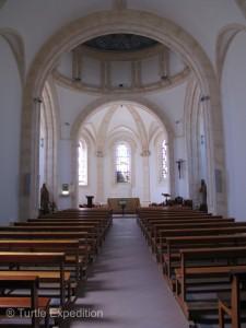 This interior of St. Vincent de Paul's sanctuary is very simple.