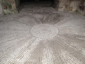 The cobbled interior floors of the Romanesque church were fascinating.