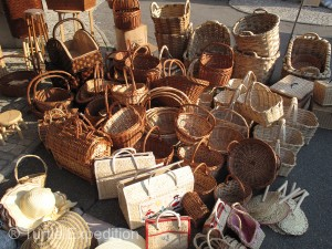Baskets, pots, and all sorts of hardware filled one open market. The other was all about food.