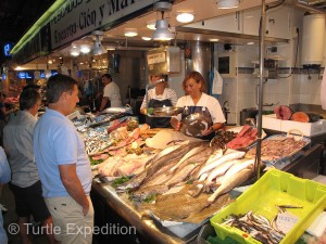 The Santander open market has a huge variety of fresh fish.