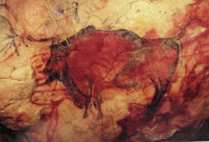 This bison, also a photo from a postcard, was created around 14,500 BC.