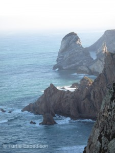 The western coast of Portugal is a mixture of sand beaches and rocky cliff promontories. The cliffs where we are camped are more than 100 meters high, (320 ft).