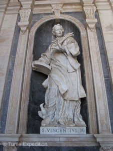 The basilica is decorated with several Italian statues of incredible detail.