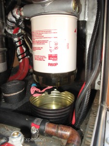 Our auxiliary/primary fuel filter has a clear bowl so we can check for water or contaminants before they reach the fuel pump or factory fuel filter.