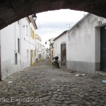 "One look at the narrow streets of Évora clearly told us it was no place for our truck. We walked in along the 16th century ""Silver Water"" aqueduct."