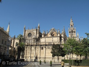 The Gothic towers of the Santa Metropolitana Y Patriarcal Iglesia Catedral de Sevilla are a wonder from any angle.