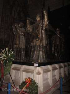 It was Columbus Day. Flower wreaths surrounded the tomb of Christopher Columbus.