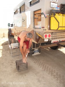 Our outdoor shower came in handy for washing sand off our feet before climbing back into the camper.