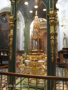 In the Cathedral treasury we marveled at the Corpus Christi monstrance by Enrique de Arfe, still used in modern-day processions.