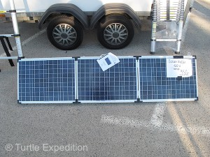 Solar panels were a must. This foldout set was claimed to produce 120 watts for 350 Euros ($473.00).