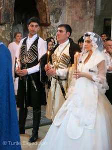 This wedding party appeared in their Chokha, a traditional outfit from the 9th century. It was rarely seen under Soviet rule but now it's a strong show of Georgian national pride.