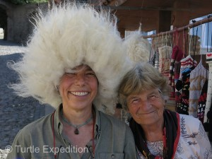 This sheepskin hat would have been perfect for skiing in Park City, the only one on the slopes but Monika didn't like the sheepy smell.