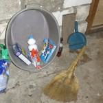 Washing of clothes was most likely done in this basin. Note the pretty Russian broom, a substitute for a vacuum.