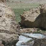 Precarious bridges spanned side creeks on the Afghan side. See the camels in the distance.
