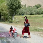 We often saw women washing carpets on the highway. July must be the season!