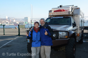 We give ourselves a thumbs-up having completed our second crossing of Eurasia, this time from West to East.