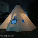 Lee's unique Teepee was heated by an unusual pellet burning portable fireplace.