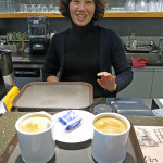 The pleasant owner of Caffé Tiamo always had a smile and a little pack of cookies for us.