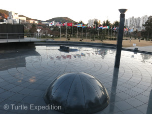 The center of the only UN Cemetery in the World was a beautiful reflection pool surrounded by 17 flags representing all the countries who fought in the Korean War.