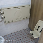 Women's restrooms often had automatic raising seat lids, changing tables and baby seats with seat belts.