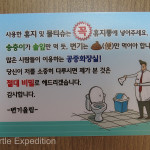 Unlike many countries we had traveled through, in Korea you could put used toilet paper in the toilet, or we think that's what it said.