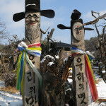 Decorated wooden statues were placed all around Hahoe village.