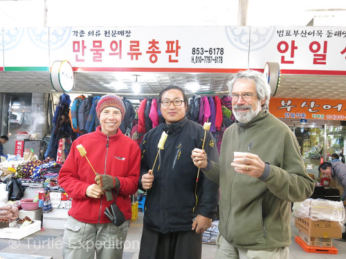 Our new friend Nam Hee-Jong, the Traditional National Guardsman, offered to show us Andong's market and then he invited us to a fabulous traditional luncheon. We were so fortunate. He spoke excellent English and was able to answer our many questions.
