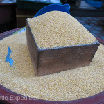 Grains of all kinds including various types of millet were being offered.