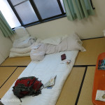 Sleeping on a hard floor covered with a thin futon certainly made us appreciate the comfortable bed in our camper.