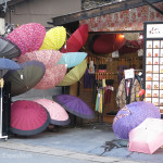 Umbrellas were a popular item, maybe part of the Japanese image.