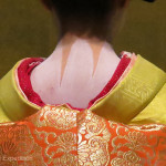 An important part of the geisha makeup is the accentuated pattern on the back of the neck thought to be the most sensuous part of her body.