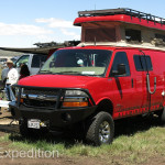 The practical and well-outfitted four-wheel-drive Sportsmobile is always present in numbers at the Overland Expos.