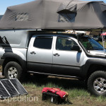Larger rooftop tents like the one on this Toyota can accommodate the whole family.
