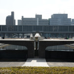 The Hiroshima Peace Museum (behind the Peace Pond in this photo) is located in Hiroshima Peace Memorial Park. Japan dedicated it to document the atomic bombing with the additional aim of promoting of World Peace.