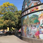 The mural in Tequila's plaza shows the international popularity of the unique liquor distilled here.