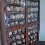 The ossuary at the Arkadi monastery preserves the skulls of fighters of the 1866 battle against the Turks.
