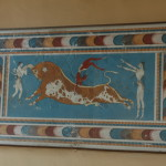 The Bull-Leaping Fresco from the Great Palace at Knossos is interpreted as a depiction of a ritual performed in connection with bull worship.