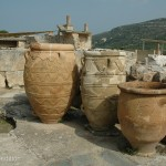 The beautiful pottery vessels for wine and olive oil showed the artistic ability of the ancient culture.