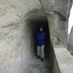 To facilitate visitors, narrow walkways were literally carved and chipped out of the solid rock cliffs.