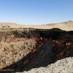 "The ""Gates to Hell"" in the Karakum desert of Turkmenistan is the size of an American football field and more than 100 ft. deep. A natural gas crater Russian geologists set on fire to prevent the spread of deadly methane, it has been burning since 1971."