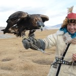 Monika holds one of the priced Golden Eagles used for hunting in the Mongolian mountains.
