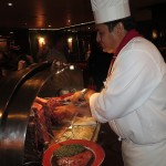 The House of Prime Rib serves up to 1,200 lbs. of meat on a busy night! A side of Prime Rib weighs about 18 lbs., 2 per steer, so you can figure out how many animals it takes to feed its customers.