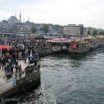 The busy ferry terminal on the European side of the Galata Bridge was a scene out of old movies.