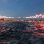 The spectacular Bosporus Bridge connecting Europe and Asia was adorned with a constantly changing light show.