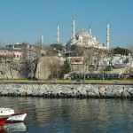 The famous Blue Mosque was in clear view from our camp near the ferry harbor.