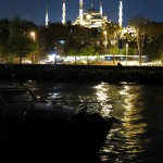 The view of the Blue Mosque at night reflected across the little harbor in front of our camp.