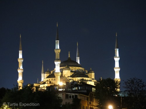 The famous Blue Mosque by night.