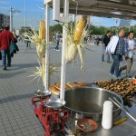 We always enjoy street food. Fresh corn on the cob and roasted chestnuts were in season.