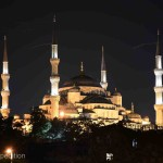 The view of the Blue Mosque from our camp on the Bosporus was magical.