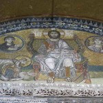 This mosaic panel from the 9th century shows the all-sovereign Christ on the throne, Virgin Mary and Archangel Gabriel in the medallions and a prostrating emperor that is either Leon VI (886-912) or Basil I (867-886).